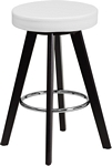 Flash Furniture Trenton Series 24'' High Contemporary Cappuccino Wood Counter Height Stool with White Vinyl Seat