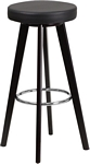 Flash Furniture Trenton Series 29'' High Contemporary Cappuccino Wood Barstool with Black Vinyl Seat