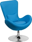 Flash Furniture Egg Series Aqua Fabric Side Reception Chair