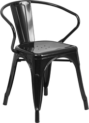 Flash Furniture Black Metal Indoor-Outdoor Chair with Arms