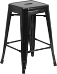 Flash Furniture 24'' High Backless Black Metal Indoor-Outdoor Counter Height Stool with Square Seat