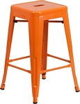 Flash Furniture 24'' High Backless Orange Metal Indoor-Outdoor Counter Height Stool with Square Seat