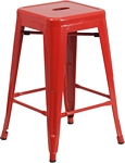 Flash Furniture 24'' High Backless Red Metal Indoor-Outdoor Counter Height Stool with Square Seat