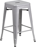Flash Furniture 24'' High Backless Silver Metal Indoor-Outdoor Counter Height Stool with Square Seat
