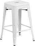 Flash Furniture 24'' High Backless White Metal Indoor-Outdoor Counter Height Stool with Square Seat