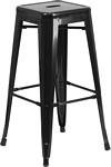 Flash Furniture 30'' High Backless Black Metal Indoor-Outdoor Barstool with Square Seat