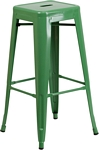 Flash Furniture 30'' High Backless Green Metal Indoor-Outdoor Barstool with Square Seat