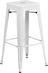 Flash Furniture 30'' High Backless White Metal Indoor-Outdoor Barstool with Square Seat