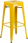 Flash Furniture 30'' High Backless Yellow Metal Indoor-Outdoor Barstool with Square Seat