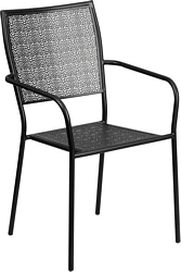 Flash Furniture Black Indoor-Outdoor Steel Patio Arm Chair with Square Back