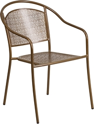 Flash Furniture Gold Indoor-Outdoor Steel Patio Arm Chair with Round Back