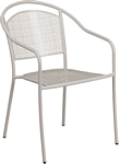Flash Furniture Light Gray Indoor-Outdoor Steel Patio Arm Chair with Round Back