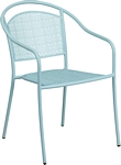 Flash Furniture Sky Blue Indoor-Outdoor Steel Patio Arm Chair with Round Back