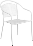 Flash Furniture White Indoor-Outdoor Steel Patio Arm Chair with Round Back