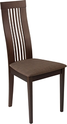 Flash Furniture Hamlet Espresso Finish Wood Dining Chair with Framed Rail Back and Golden Honey Brown Fabric Seat