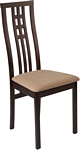 Flash Furniture Phillips Espresso Finish Wood Dining Chair with Triple Window Pane Back and Brown Fabric Seat