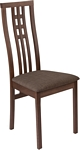 Flash Furniture Phillips Walnut Finish Wood Dining Chair with Triple Window Pane Back and Golden Honey Brown Fabric Seat