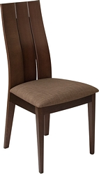 Flash Furniture Hadley Espresso Finish Wood Dining Chair with Wide Slat Back and Golden Honey Brown Fabric Seat