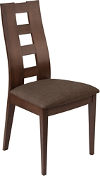 Flash Furniture Preston Espresso Finish Wood Dining Chair with Window Pane Back and Golden Honey Brown Fabric Seat