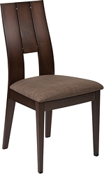 Flash Furniture Emerson Espresso Finish Wood Dining Chair with Curved Slat Keyhole Back and Golden Honey Brown Fabric Seat