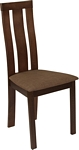 Flash Furniture Glenwood Espresso Finish Wood Dining Chair with Vertical Wide Slat Back and Golden Honey Brown Fabric Seat