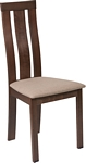Flash Furniture Glenwood Walnut Finish Wood Dining Chair with Vertical Wide Slat Back and Magnolia Brown Fabric Seat