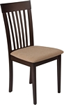 Flash Furniture Wellington Espresso Finish Wood Dining Chair with Rail Back and Brown Fabric Seat