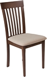 Flash Furniture Wellington Walnut Finish Wood Dining Chair with Rail Back and Beige Fabric Seat