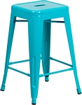 Flash Furniture 24'' High Backless Crystal Teal-Blue Indoor-Outdoor Counter Height Stool