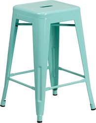 Flash Furniture 24'' High Backless Mint Green Indoor-Outdoor Counter Height Stool