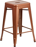 Flash Furniture 24'' High Backless Copper Indoor-Outdoor Counter Height Stool