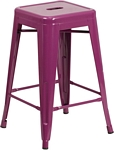 Flash Furniture 24'' High Backless Purple Indoor-Outdoor Counter Height Stool