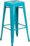Flash Furniture 30'' High Backless Crystal Teal-Blue Indoor-Outdoor Barstool