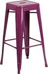 Flash Furniture 30'' High Backless Purple Indoor-Outdoor Barstool