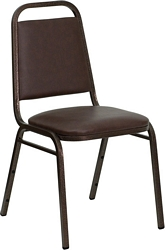 Flash Furniture HERCULES Series Trapezoidal Back Stacking Banquet Chair in Brown Vinyl - Copper Vein Frame