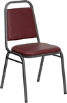 Flash Furniture HERCULES Series Trapezoidal Back Stacking Banquet Chair in Burgundy Vinyl - Silver Vein Frame
