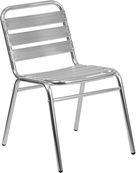 Flash Furniture Commercial Aluminum Indoor-Outdoor Restaurant Stack Chair with Triple Slat Back