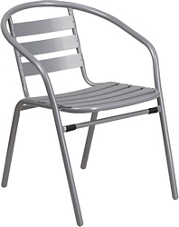Flash Furniture Silver Metal Restaurant Stack Chair with Aluminum Slats