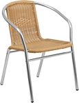 Flash Furniture Commercial Aluminum and Beige Rattan Indoor-Outdoor Restaurant Stack Chair