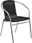 Flash Furniture Commercial Aluminum and Black Rattan Indoor-Outdoor Restaurant Stack Chair
