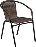 Flash Furniture Dark Brown Rattan Indoor-Outdoor Restaurant Stack Chair
