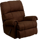 Flash Furniture Contemporary Flatsuede Chocolate Microfiber Rocker Recliner