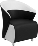 Flash Furniture Black Leather Lounge Chair with Melrose White Detailing