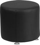 Flash Furniture Alon Series Black Leather 18'' Round Ottoman
