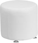 Flash Furniture Alon Series Melrose White Leather 18'' Round Ottoman