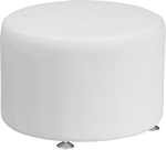 Flash Furniture Alon Series Melrose White Leather 24'' Round Ottoman