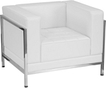 Flash Furniture Imagination Series Contemporary Melrose White Leather Chair with Encasing Frame