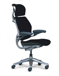 Humanscale Freedom Chair Fully Adjustable Model In Black Fabric With Headrest