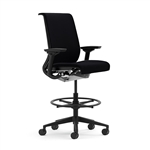 Steelcase Think Work Stool Fully Adjustable Model In Black Fabric Refurbished