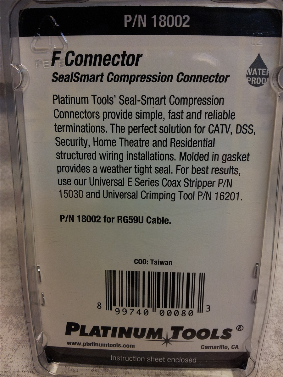 Platinum Tools 18002 Quad Shielded F Compression Nickel 10 Pack Structured Wiring Home Theater Images